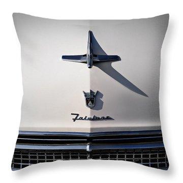 Vintage Ford Fairlane Hood Ornament Throw Pillow