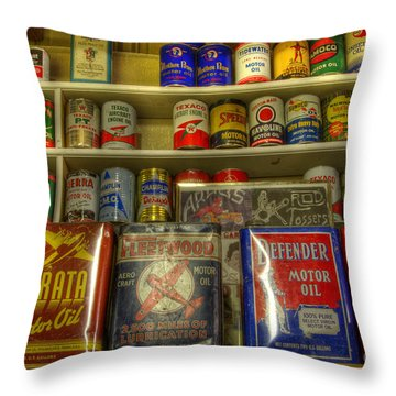 Vintage Garage Oil Cans Throw Pillow by Bob Christopher
