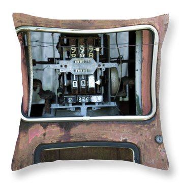 Vintage Gas Pump Throw Pillow by Alan Look
