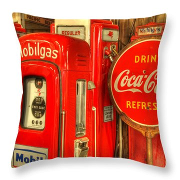 Vintage Gasoline Pumps 2 Throw Pillow by Bob Christopher