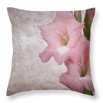 Vintage Gladioli Throw Pillow by Jane Rix
