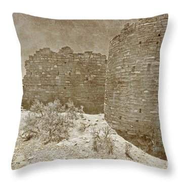 Vintage Hovenweep Castle Throw Pillow by Bob and Nancy Kendrick
