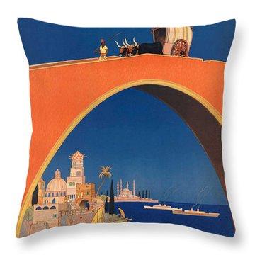 Vintage Mediterranean Travel Poster Throw Pillow by George Pedro