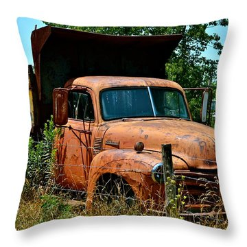 Throw Pillow featuring the photograph Vintage Old Time Truck by Peggy Franz