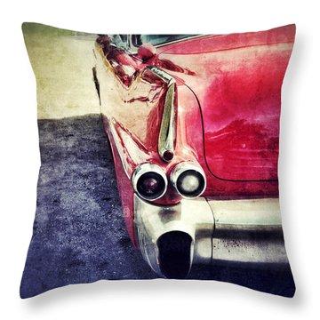 Vintage Red Car Throw Pillow by Jill Battaglia