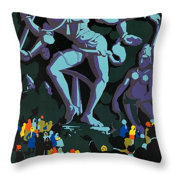 Vintage See India Travel Poster  Throw Pillow by George Pedro