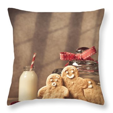 Vintage Style Gingerbread Men Throw Pillow by Amanda Elwell