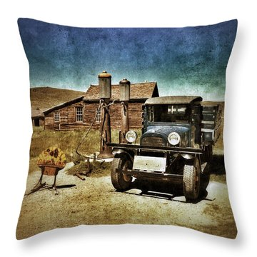 Vintage Vehicle At Vintage Gas Pumps Throw Pillow by Jill Battaglia
