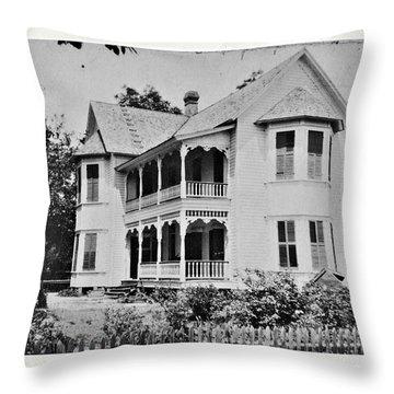 Vintage Victorian House Throw Pillow by Susan Leggett