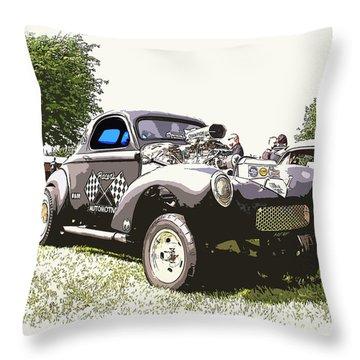 Vintage Willys Gasser Throw Pillow by Steve McKinzie
