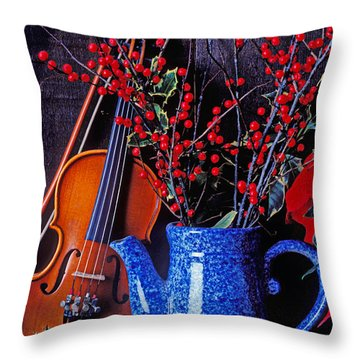 Violin With Blue Pot Throw Pillow by Garry Gay