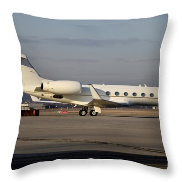 Vip Jet C-37a Of Supreme Headquarters Throw Pillow by Timm Ziegenthaler