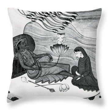 Vishnu And Lakshmi Throw Pillow by Photo Researchers