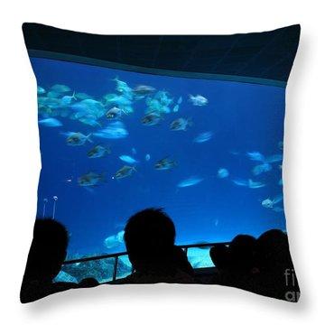 Visitors At Ocean Aquarium Throw Pillow by Yali Shi