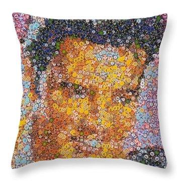 Viva Las Vegas Elvis Poker Chip Mosaic Throw Pillow by Paul Van Scott