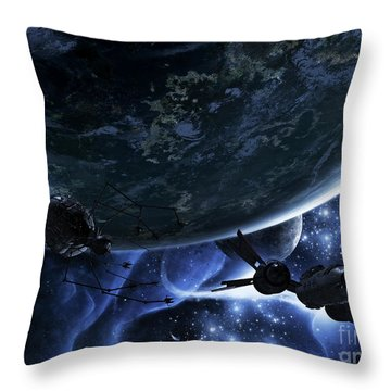 Vulture Ships Hunt Down And Dismantle Throw Pillow by Brian Christensen