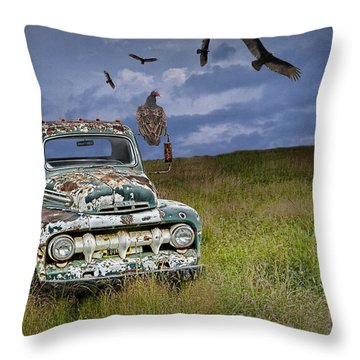 Vultures And The Abandoned Truck Throw Pillow
