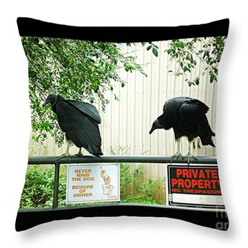 Throw Pillow featuring the photograph Vultures Guarding Property by Renee Trenholm
