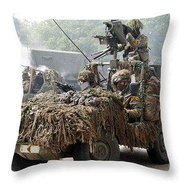 Vw Iltis Jeeps Used By Scout Or Recce Throw Pillow by Luc De Jaeger