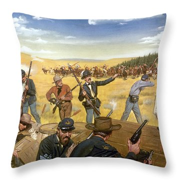 Wagon Box Fight, 1867 Throw Pillow by Granger