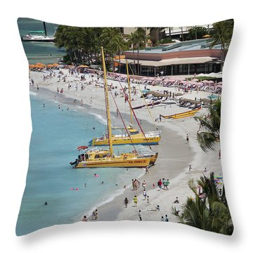Waikiki Beach And Catamarans Throw Pillow by Peter French