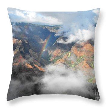 Waimea Canyon Rainbow Throw Pillow