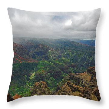 Waimea Canyon Weather Throw Pillow by Lynn Bauer
