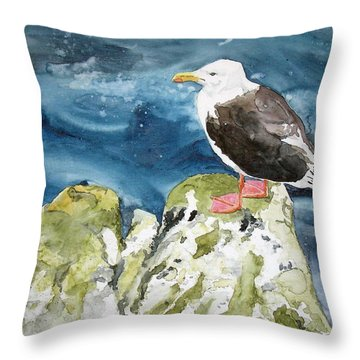 Throw Pillow featuring the painting Waiting For Lunch by Tom Riggs