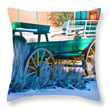 Waiting Wagon Throw Pillow