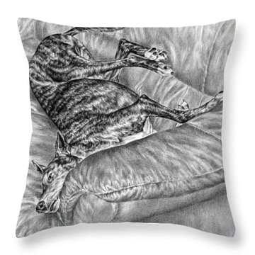 Wake Me For Dinner - Greyhound Dog Art Print Throw Pillow