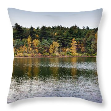 Walden Pond Panorama I Throw Pillow by Thomas Marchessault