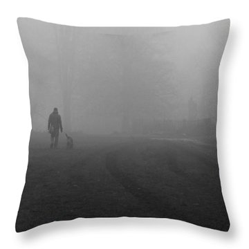 Walk The Dog Throw Pillow by Maj Seda