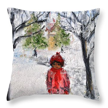 Walking Alone Throw Pillow by Evelina Popilian