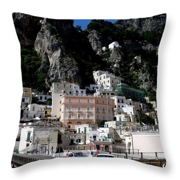 Walking Along The Amalfi Coast  3 Throw Pillow