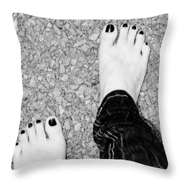 Throw Pillow featuring the photograph Walking Barefoot by Ester  Rogers