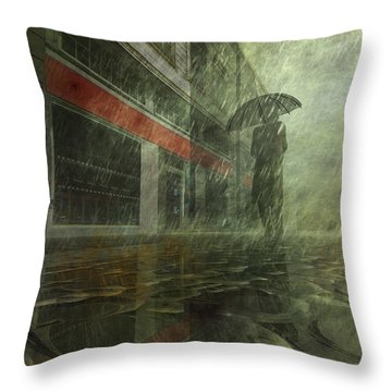 Walking In The Rain Throw Pillow by Carol and Mike Werner
