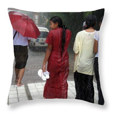 Walking In The Rain Throw Pillow by RicardMN Photography