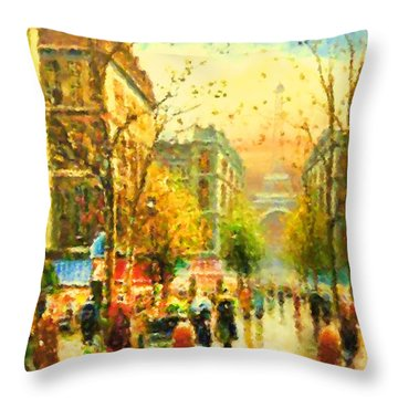 Walking In The Rain Throw Pillow