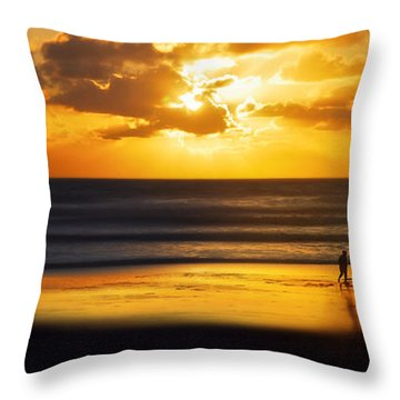 Walking Into The Sunlight Throw Pillow by Hannes Cmarits