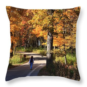 Walking Throw Pillow by Lyle Hatch