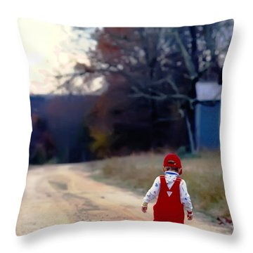 Walking On Pawpaw's Road Throw Pillow