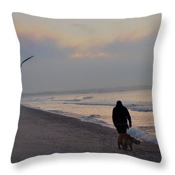 Walking On The Beach - Cape May Throw Pillow by Bill Cannon
