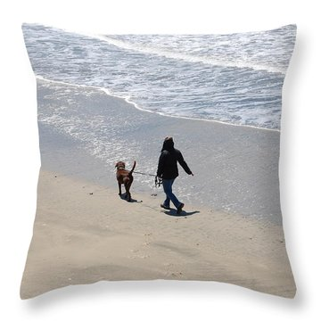 Walking The Dog Throw Pillow by Carolyn Donnell