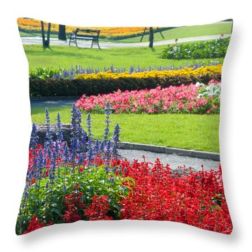 Walkway In Park Throw Pillow by Atiketta Sangasaeng
