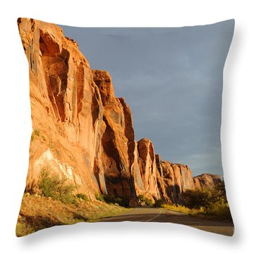 Wall Street Cliff Near Moab Throw Pillow by Gary Whitton