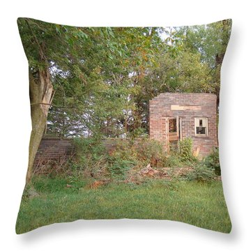 Throw Pillow featuring the photograph Walnut Grove School Ruins by Bonfire Photography