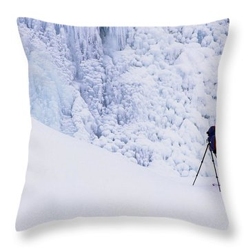 Wapta Falls Throw Pillow by Bob Christopher