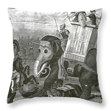War Elephant Throw Pillow by Photo Researchers
