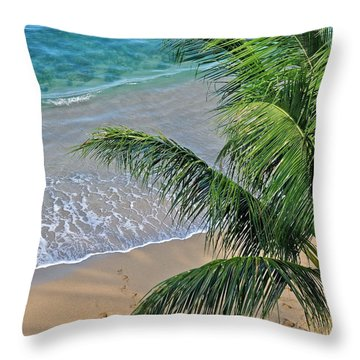 Warm Maui Waters Lapping Ashore Throw Pillow by Kirsten Giving