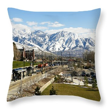 Wasatch Mountain Range Throw Pillow by Marilyn Hunt